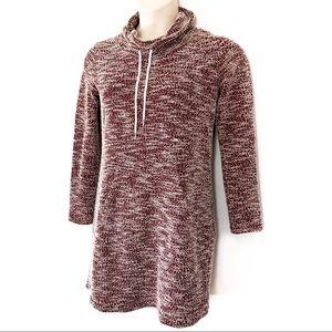 She & Sky Marled Cowl Neck Tunic Dress Rust
